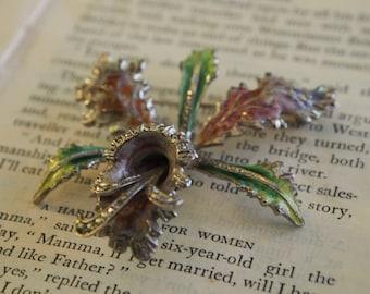 ENAMEL FLOWER BROOCH - Statement Brocch - Marcasite Crystal - Orchid - Vintage Jewellery - Vintage Brooch - 1950s - 1960s - Rainbow