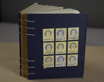 Long Live the Queen - Blank Coptic Stitch Journal w/Vintage Queen Elizabeth Canada Stamps