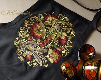 Khokhloma Oval - Machine Embroidery Design Set