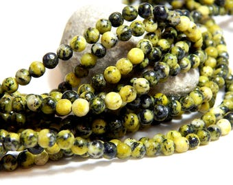 4mm Yellow Turquoise, Full Strand, Yellow Turquoise, Small Beads, 4mm Beads, 4mm Yellow Gemstones, Tiny Beads, Small Round Beads, B-20A
