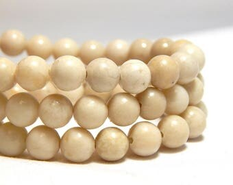 6mm Riverstone, 6mm Riverstone Beads, 6mm Creamy White Beads, Riverstone Beads, Off-White Beads, Ivory Beads, Cream Beads, Gemstones, B-20D
