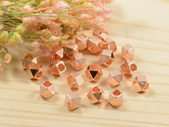 4mm Faceted Spacer Beads, Diamond Cut Metal Beads, Rose Gold Anti-Tarnish Plated Beads, Large Hole Spacer Beads - 25 pcs/ order