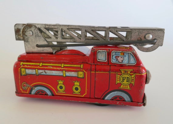Vintage 1950's Tin Litho Fire Truck