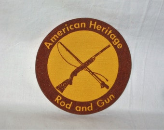 vintage 1970s american heritage rod and gun club 4 inch patch unused free shipping in the usa!