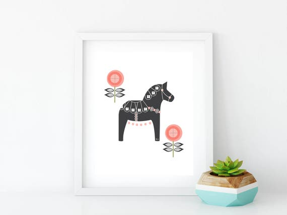 Dala Horse, Printable, Floral Dala Horse Print, Art Print, Wall Art, Wall Decor, Nursery Wall Art, Swedish Horse, Coral
