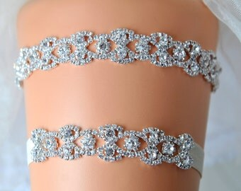 Crystal Bridal Garter Set, Wedding Garter Set Ivory, Ivory Crystal Glam Rhinestone Garter, Crystal Rhinestone Garter and Toss Garter Set