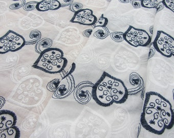 Heart Lace ,Navy blue embroidery cotton fabric,skirt cotton lace fabric ,Cotton embroidery curtain fabric