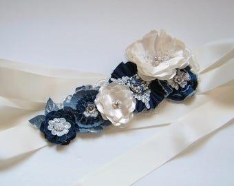 Denim Wedding Dress Sash Belt, Blue Denim and Ivory Floral Bridal Sash, Rustic Wedding Flower Sash, Country Chic Wedding Sash Belt - RB0159