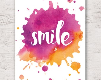 Smile Poster A2 | Watercolor Art | Home Decor | Wall Decor | Spring Art | Typography Print | Gift | Apartment Decor | Motivational