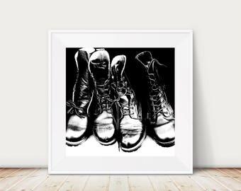 Shoe art, Vintage Dr Marten boots photograph, fine art print, black and white, doc martens, dm's, still life photo, wall art, bedroom art
