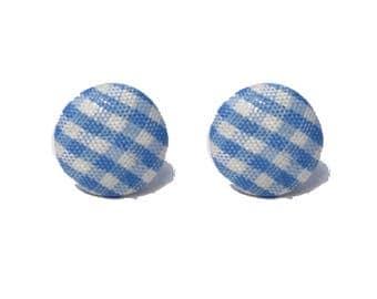 "Handmade ""Gingham Gal"" Light Blue Gingham Print Fabric Button Earrings 5/8"""