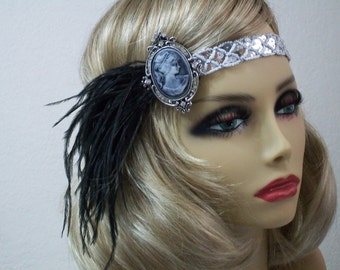 Silver flapper headband, 1920s headpiece, Cameo headband, Gatsby headpiece, Feather headband, Vintage inspired, 1920s hair accessory