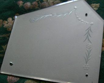 antique venetian etched glass mirror /  antique mirror / etched glass mirror /
