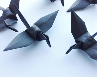 Origami Paper Crane 10 Black - Origami Birds - Folded Paper Birds - Wedding Decoration Ornament Decoration - Wedding Favours - Baby Shower