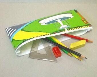 Caja de lápiz con el patrón de la escuela, Portatodo de hule para niños, caja de lápiz grande, caja de lápiz de la escuela, con cremallera bolsa