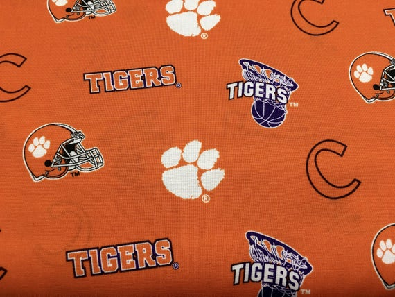 Clemson Tigers Ncaa 45 Cotton Fabric By The Yard All