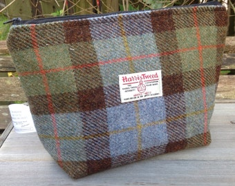 Large harris tweed wash bag zip storage toiletries bag travel bag