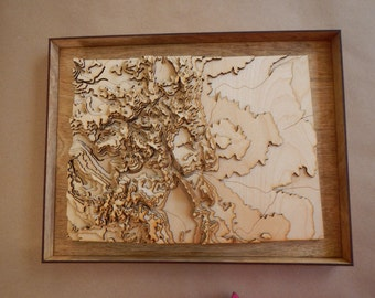 Framed 3-D Colorado map - wooden laser-cut map with topography (elevations) and hydrology (rivers and lakes)