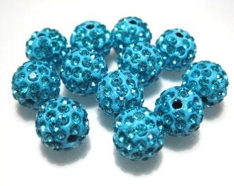 10pcs Blue Aquamarine Polymer Clay Rhinestone Beads Pave Disco Ball Beads 10mm - Grade AAA