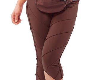 YOGA PIXIE LEGGINGS, brown earthy psy trance leggings, festival pixie leggings, leaf leggings, yoga clothing, psytrance boho hippy leggings