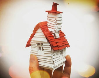 Little Scandinavian House - Scandi Inspired Recycled Cardboard House Model - Red and White - READY TO SHIP