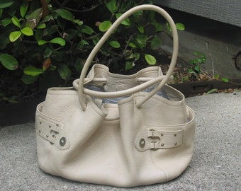 Beige Pebbled Leather Drawstring Cole Haan Handbag