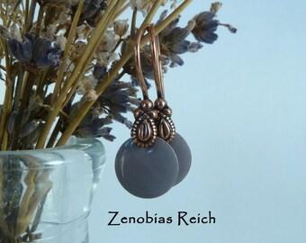 Emaille Ohrringe Kupfer Flieder schlichter Style