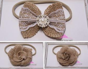 Hair Bows for girls - burlap hair bow - baby girl headband - baby headband - rustic - vintage - toddler headband - burlap headband