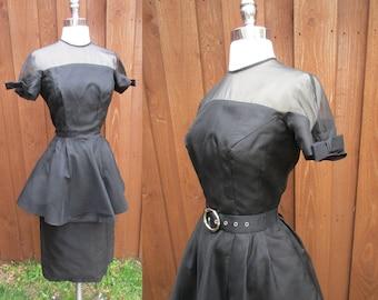 Little Black Dress 50s/60s Short Sleeves with Bows Sheer Bodice Long Peplum Wiggle Dress Sz S