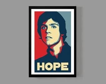 Star Wars: Luke Skywalker Custom Poster - Hope Print - Inspirational, Motivational, Funny, Movie