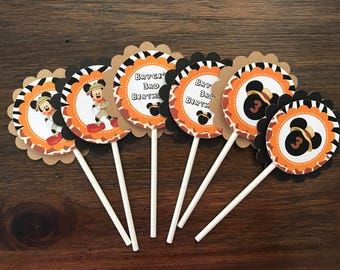 12 Personalized Safari, Jungle Mickey Mouse Party Cupcake Topper, Food Pick or Party Decoration