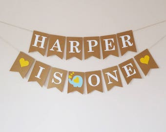 Personalised first birthday bunting elephant decor, yellow, blue