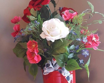 Valentine Rose Bouquet, Red Roses, Faux Flowers, Valentine's Flowers, Red and White Rose Floral,  Red and Pink Flower Arrangement, Red Vase