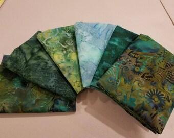 1/2 Yard Fabric Bundle of Hoffman Amazon Batiks.  6 Different Fabrics