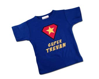 Boy's Super Hero Shirt with Star Shield and Embroidered Name
