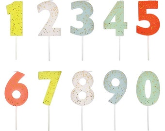 Large Number Candle, Birthday Cake Candles, Meri Meri Number Cake Toppers, Anniversary, 1st Birthday, Gold Glitter Party Decor, 123456789