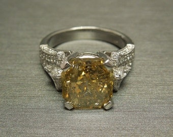 Estate 18K White Gold 6.80TCW 5.50ct Five Carat Asscher cut Golden Canary Yellow Diamond Solitaire Engagement Ring  Sz 7.5