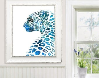 Animal Art Watercolor Painting Print Leopard, African Animal Painting, Blue Home Decor Wall Art Watercolor Animal - 533