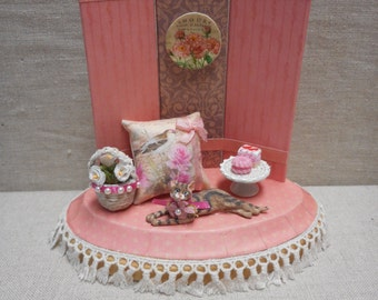 Miniature scene - kitty with cupcakes