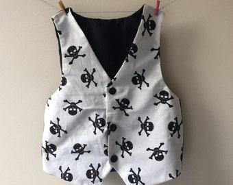 Skull waistcoat, skull top, skull clothes, skull print, skull gift, skull and crossbones, baby  waistcoat, childrens waistcoat, pirate waist