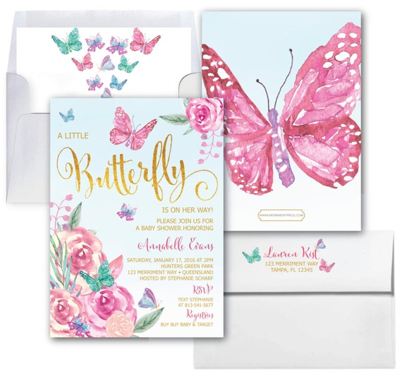 Butterfly Baby Shower Invitations Butterflies Invitation Baby