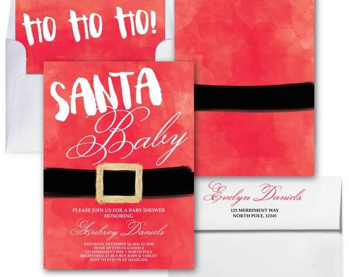 Santa Baby Shower Invitation // Christmas Baby Shower Invitation // Winter Baby Shower // Holiday // Glitter // Red // NORTH POLE COLLECTION