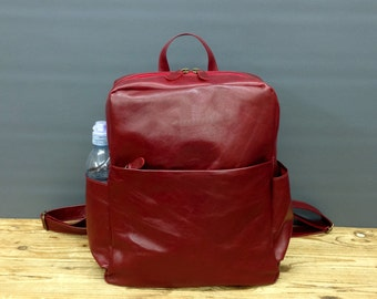 Sale Small leather Backpack Brown lightweight leather bag