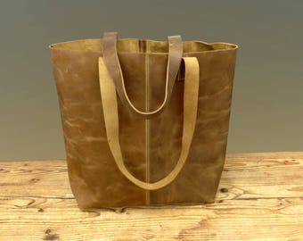 Sale!!! Distressed brown leather tote bag, Leather shopper bag, Vintage Tote bag , brushed sturdy leather tote bag