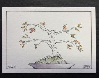 Bonsai -Original Ink & Watercolor Miniature Painting - hand-painted, OOAK, tree