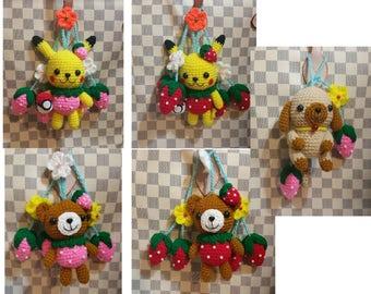 Fruit Dog Pikachu Pokemon Charms for Louis Vuitton  LV & other Handbags Purse - Crochet Handmade