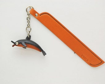 Dolphin Leather Charm Bookmark/Bookmarks/Bookmarker *VANCA* Made in Japan #61304 Free Shipping