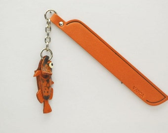 Stonefish Leather Charm Bookmark/Bookmarks/Bookmarker *VANCA* Made in Japan #61323 Free Shipping