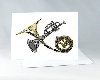 Music Lovers Card, Musical Instruments Painting, Trumpet Painting, Line Drawing, Music Wall Art, Jazz Music Card, Trumpet Wall Art 1009A