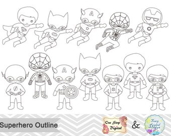 Black White Outline Superhero Boys Digital Clip Art Superhero Boy Outline Clip Art Little Boy Superhero Outline Clipart Outline Clipart 0237